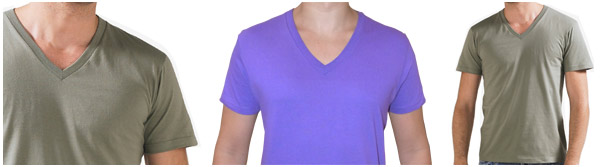 Camiseta hombre, cuello pico largo